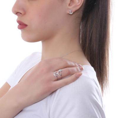 Anello con mezzaluna di zirconi bianchi