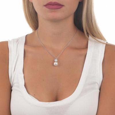 Collana con pendente di zircone taglio diamante e perla Swarovski