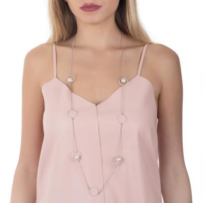 Collana lunga con decori in pavè di zirconi e perle Swarovski