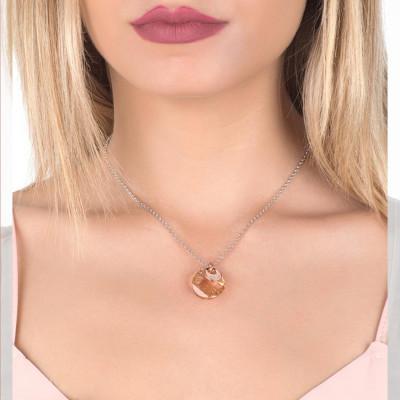 Collana con pendente sfaccettato Swarovski golden shadow e zirconi