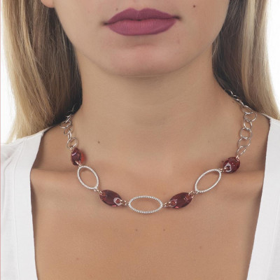 Collana rollo con zirconi e Swarovski red magma