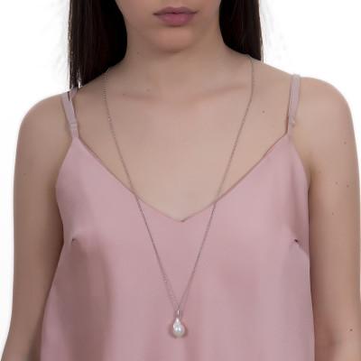 Collana lunga con perla naturale pendente