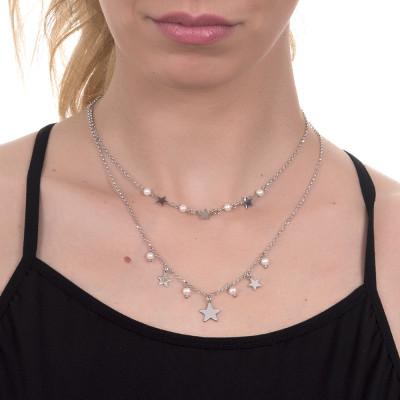 Collana due fili con stelle e perle naturali pendenti