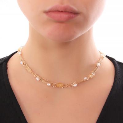 Collana multifilo con perle naturali e quarzo citrino