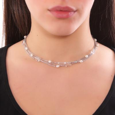 Collana multifilo con perle naturali e cristallo di rocca