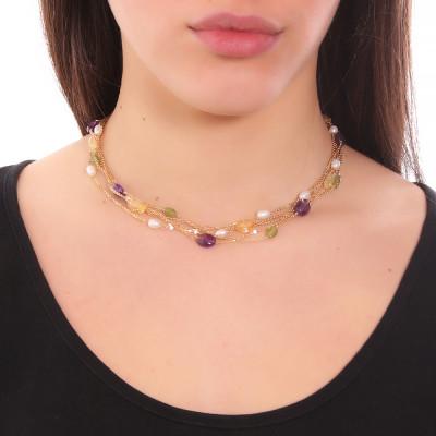 Collana multifilo con perle naturali, ametista e peridotto