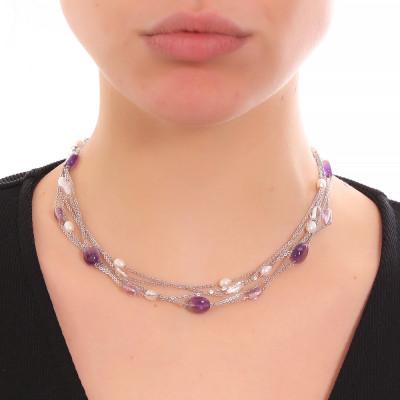 Collana multifilo con perle naturali, ametista e cristallo di rocca