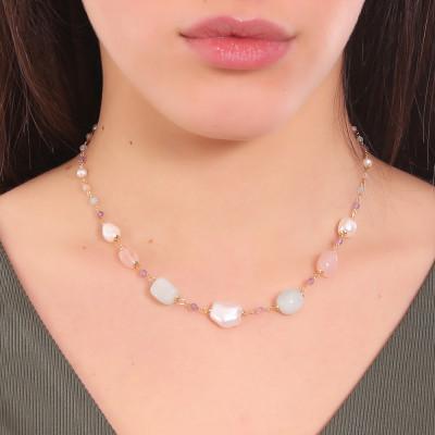 Collana con perle naturali, ametista, acquamarina, quarzo rosa e morganite pink