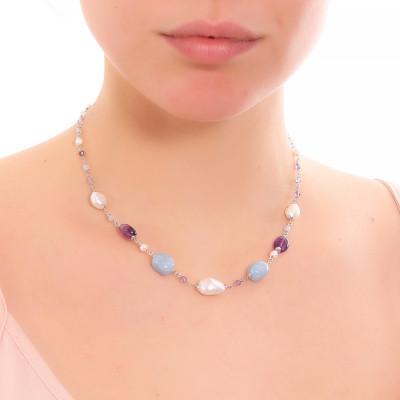 Collana con perle naturali, ametista e acquamarina