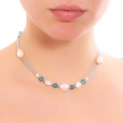 Collana con perle naturali, amazzonite e apatite