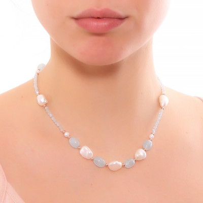 Collana con perle naturali e acquamarina