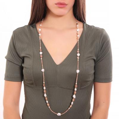 Collana lunga con perle naturali e pietra di luna