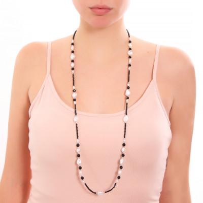 Collana lunga con ossidiana, spinello e perle naturali