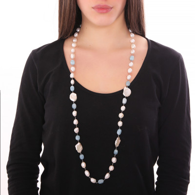 Collana lunga con perle scaramazze e acquamarina