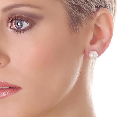Orecchini in argento e perle Swarovski bianche