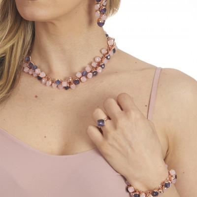Anello placcato oro rosa con cristallo color tanzanite