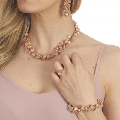 Anello placcato oro rosa con cristallo color corniola
