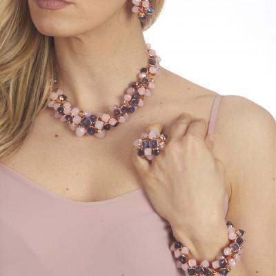 Anello con ciuffo di cristalli color quarzo rosa e tanzanite