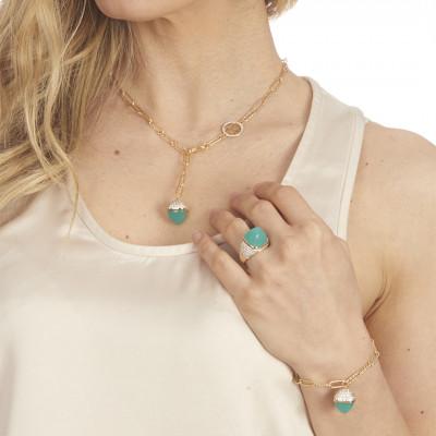 Bracciale con cristallo maxi color amazzonite e zirconi