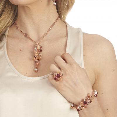Bracciale con grappolo di cristalli color corniola, rubino e zirconi