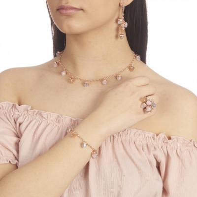 Bracciale placcato oro rosa con cristalli piramidali pendenti