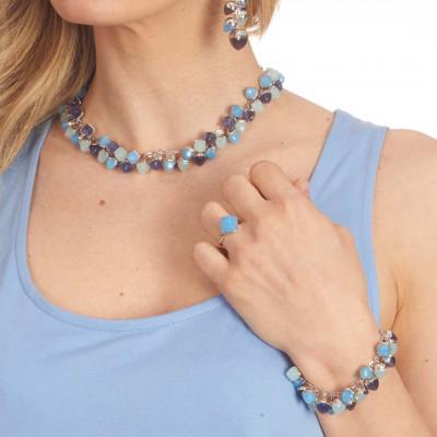 Bracciale con grappolo di cristalli dai colori acqua milk, tanzanite e agata blu