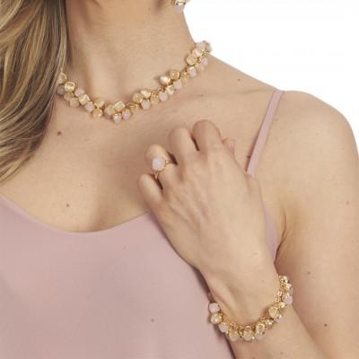 Bracciale con grappolo di cristalli dai colori pietra di luna e quarzo rosa