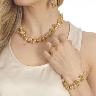Bracciale con grappolo di cristalli dai colori corniola, olivine e pietra di luna