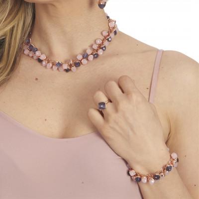 Bracciale con grappolo di cristalli dai colori quarzo rosa e tanzanite