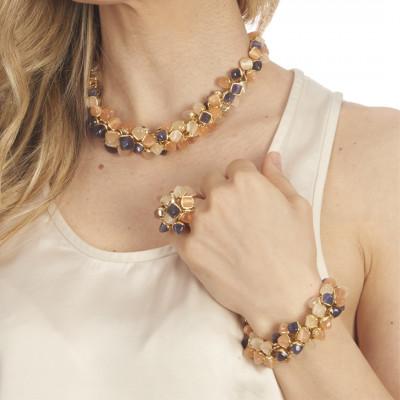Bracciale con decoro di cristalli dai colori tanzanite, corniola e pietra di luna