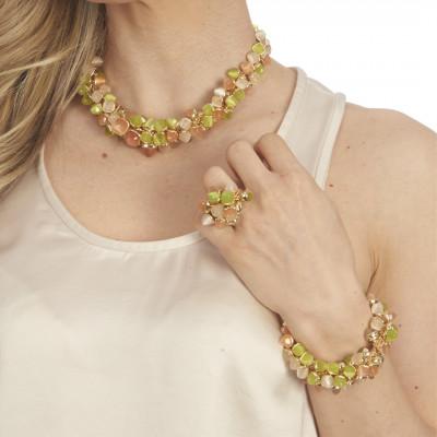 Bracciale con decoro di cristalli dai colori corniola, pietra di luna e olivine