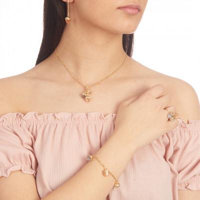 Collana placcata oro giallo con ciondolo di cristalli piramidali e zirconi