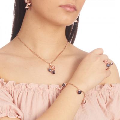 Collana placcata oro rosa con ciondolo di cristalli piramidali e zirconi