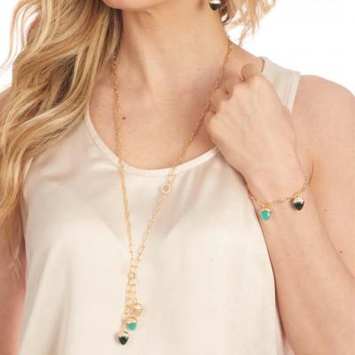 Collana con pendente di cristalli piramidali color amazzonite, smeraldo e pietra di luna