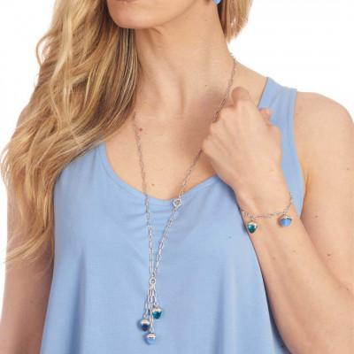 Collana con pendente di cristalli piramidali color calcedonio azzurro, zaffiro e acquamarina