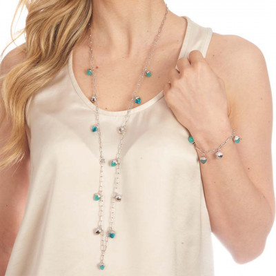 Collana lunga con cristalli piramidali color amazzonite e acquamarina