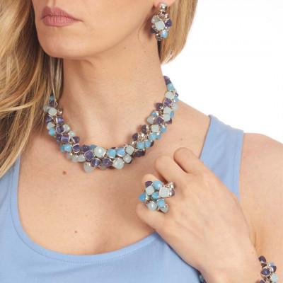 Collana avvolta da cristalli piramidali color acqua milk, agata blu e tanzanite