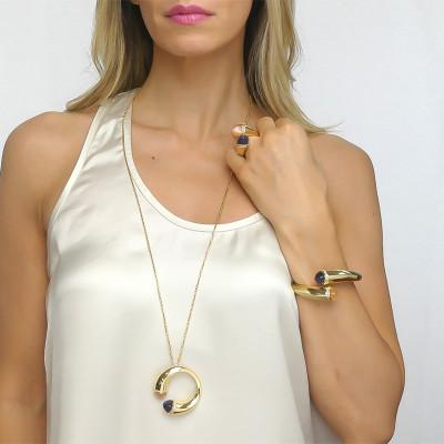 Collana lunga con cristalli corniola, tanzanite e zirconi