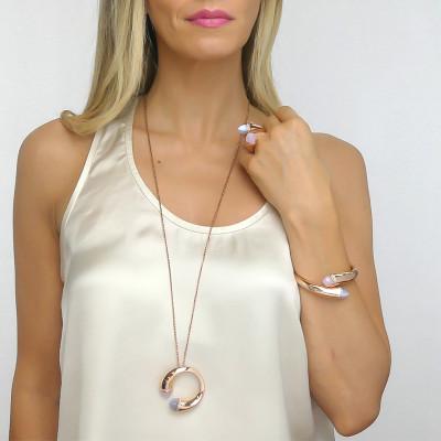 Collana lunga con cristalli quarzo rosa, agata grigia gatteggiante e zirconi