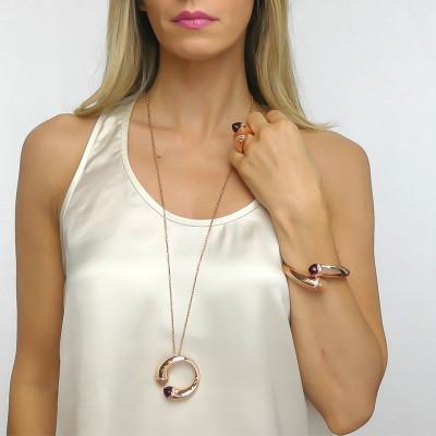 Collana lunga con cristalli corniola, rubino e zirconi