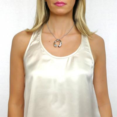 Collana con cristalli aquamilk, tanzanite e zirconi