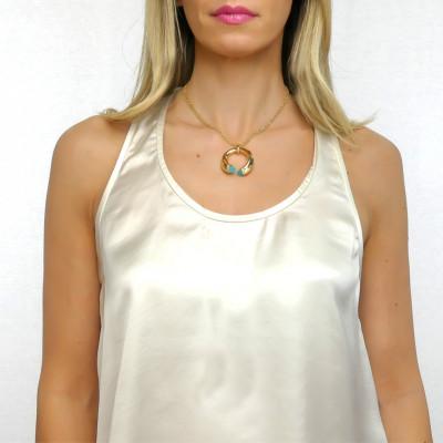 Collana con cristalli amazzonite e zirconi