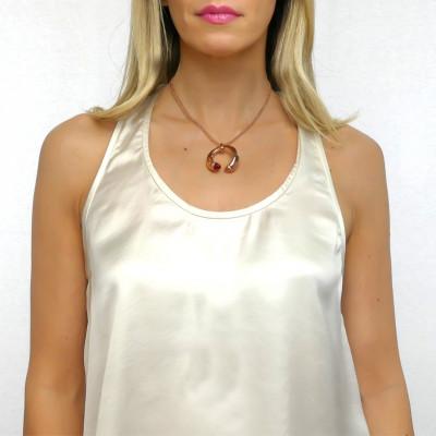 Collana con cristalli color corniola, rubino e zirconi