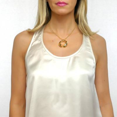 Collana con cristalli olivina e corniola