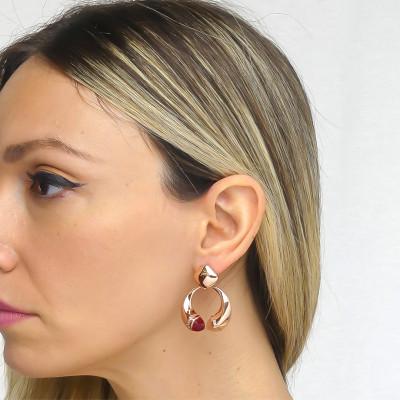 Orecchini pendenti con cristalli corniola, rubino e zirconi