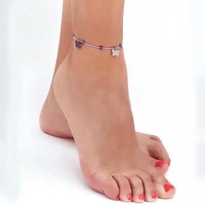 Cavigliera con Swarovski tanzanite e charms a forma di farfalla