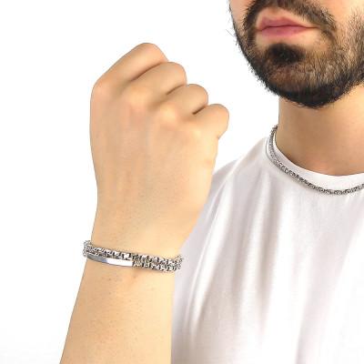 Bracciale maglia veneziana diamantata con piastrina
