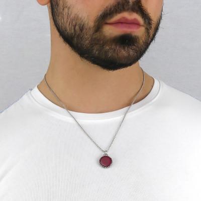 Collana maglia a spiga con agata rossa