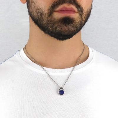 Collana nodo con agata blu