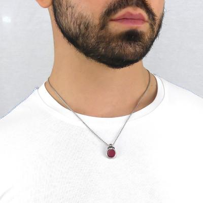 Collana nodo con agata rossa